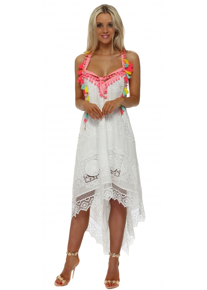 Laurie & Joe White Lace Neon Pom Pom Handkerchief Dress