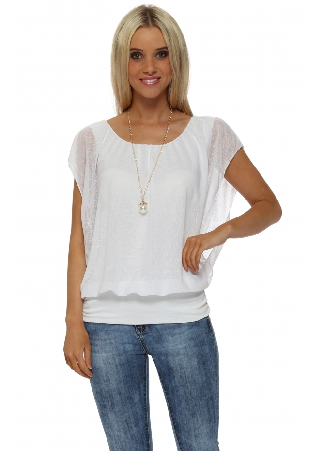 Italian Boutique White Sleeveless Bandeau Hem Necklace Top