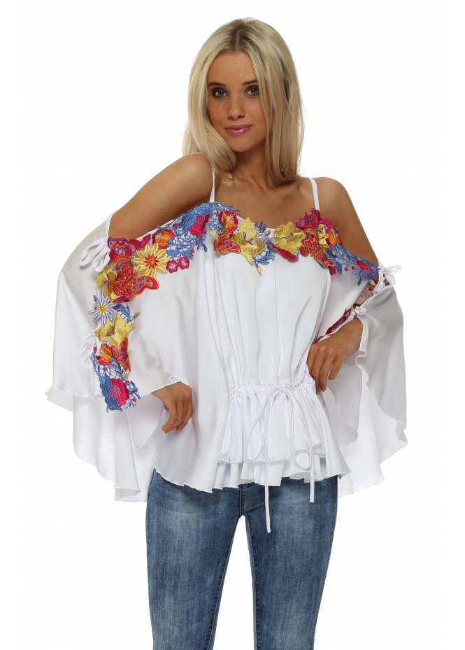 Faust White Satin Floral Embroidered Batwing Top