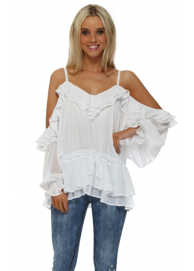 Faust White Chiffon Frill Cold Shoulder Top