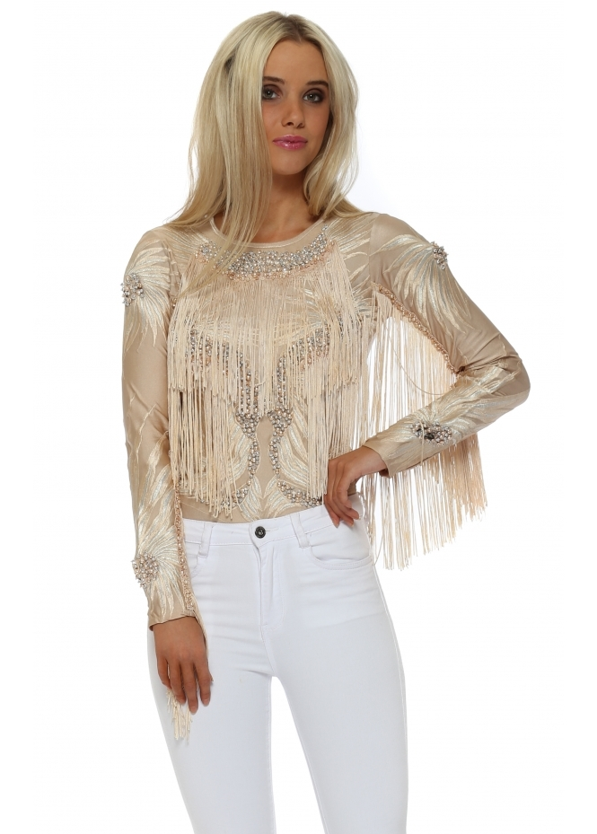 Starry Eyed Luxe Pearl Sequin Embroidered Tassel Bodysuit