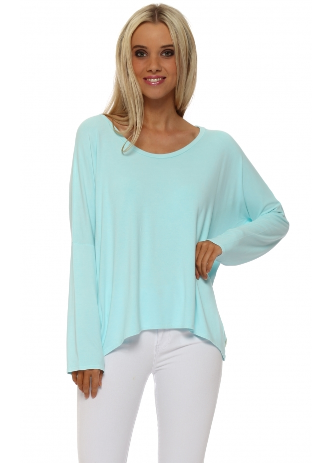 A Postcard From Brighton Karma Long Sleeve Slouch Top In Paradise Blue