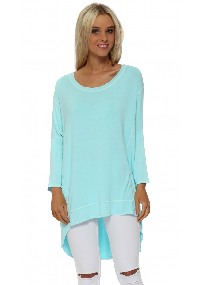 A Postcard From Brighton Paradise Blue Florrie Dip Hem Slouch Top