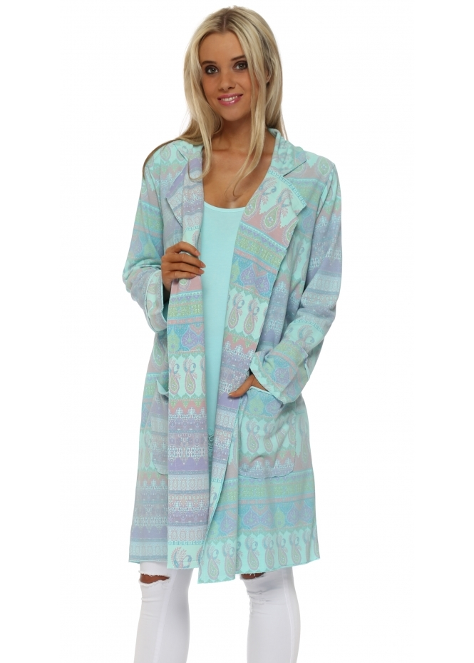 A Postcard From Brighton Marrakesh Print Paradise Blue Molly Jacket