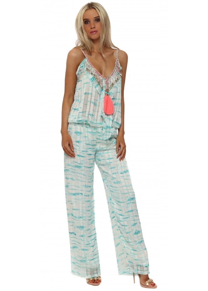 Just M Paris Aqua Tie Dye Chiffon Shell Jumpsuit