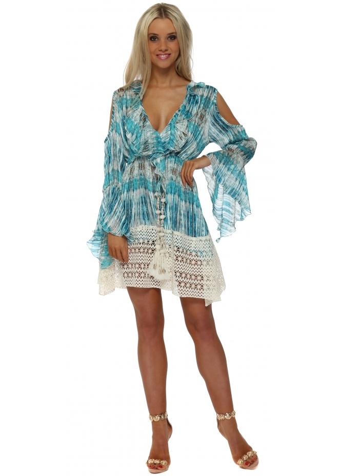 Laurie & Joe Blue Tie Dye Chiffon Ruffle Mini Dress