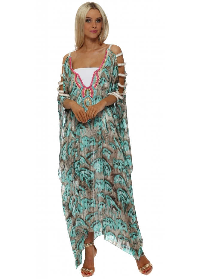 My Story Turquoise Feather Print Ladder Sleeve Maxi Kaftan Dress