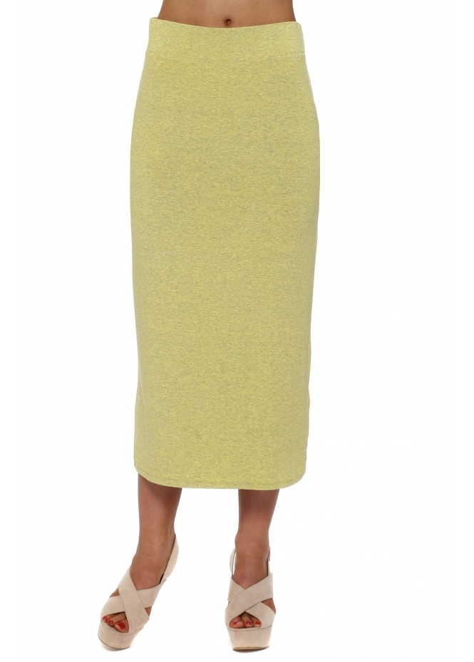 A Postcard From Brighton Mindy Canary Melange Jersey Midi Skirt