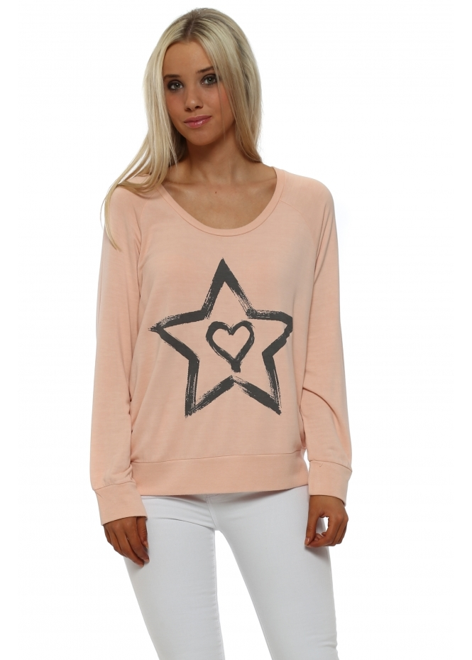 A Postcard From Brighton Raglan Zippy Starry Heart Sweatshirt In Seduction
