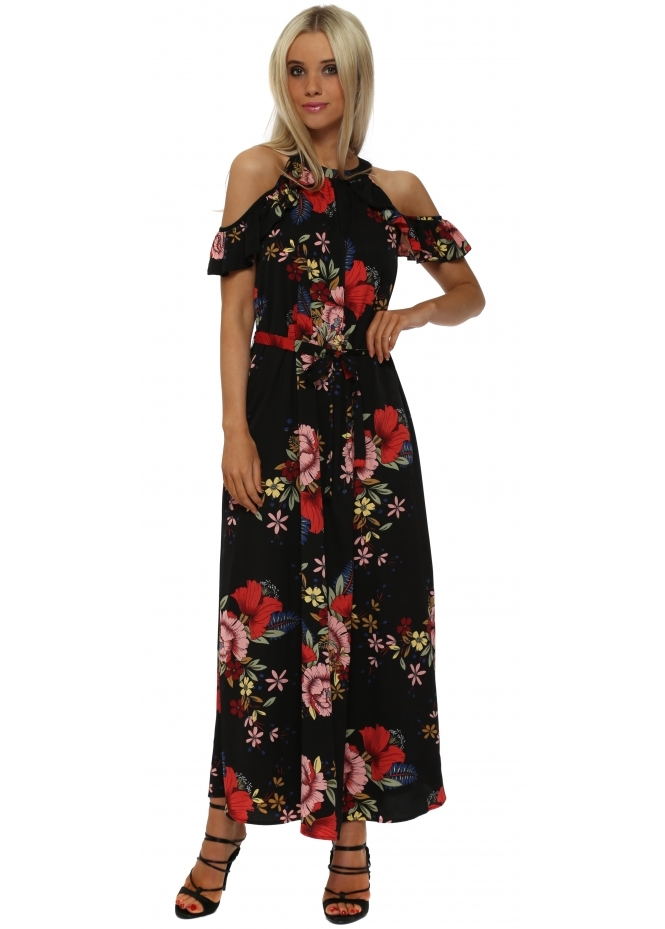 French Boutique Black Floral Cold Shoulder Maxi Dress