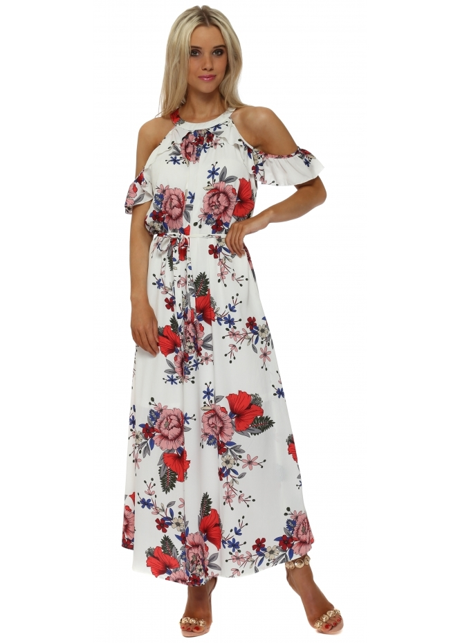 French Boutique White Floral Cold Shoulder Maxi Dress