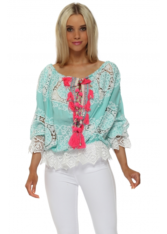 Laurie & Joe Aqua Crochet Shell Tassle Tie Blouse