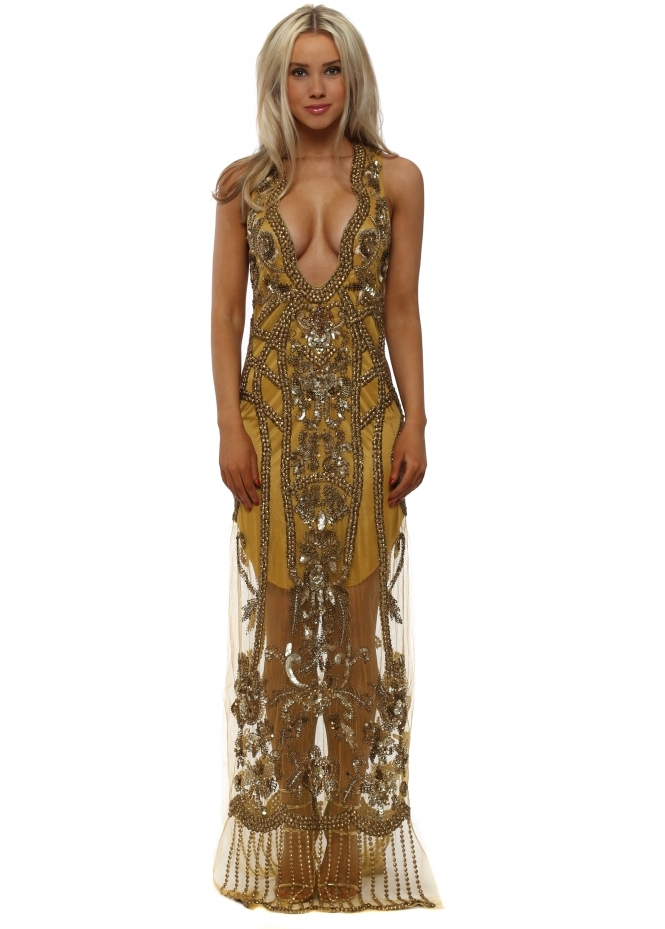 Starry Eyed Gold Beaded Plunge Front Cut Out Maxi Dress