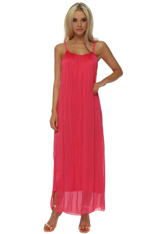 Made In Italy Coral Floaty Silk Maxi Dress