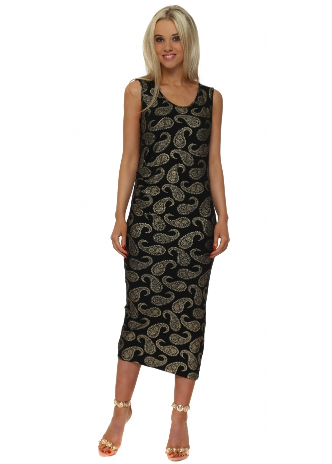 A Postcard From Brighton Paige Gold Paisley Print Pleated Midi Dress In Black