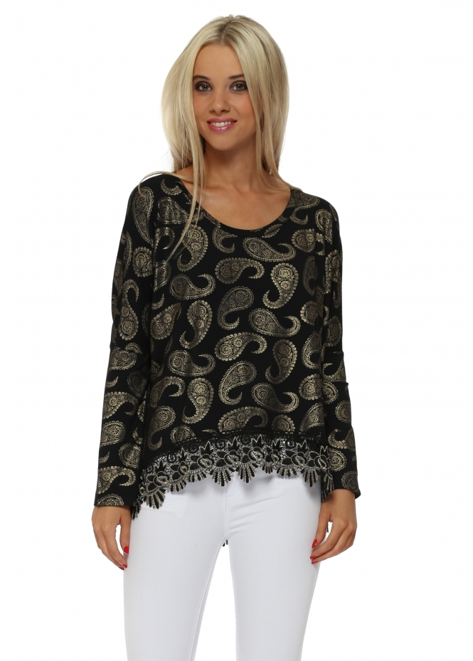 A Postcard From Brighton Paris Gold Paisley Lace Hem Top In Black