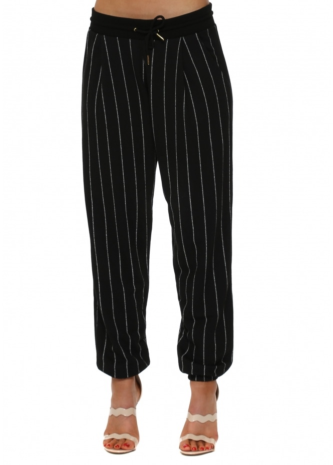 A Postcard From Brighton Charlie Black Pinstripe Jogger Pants