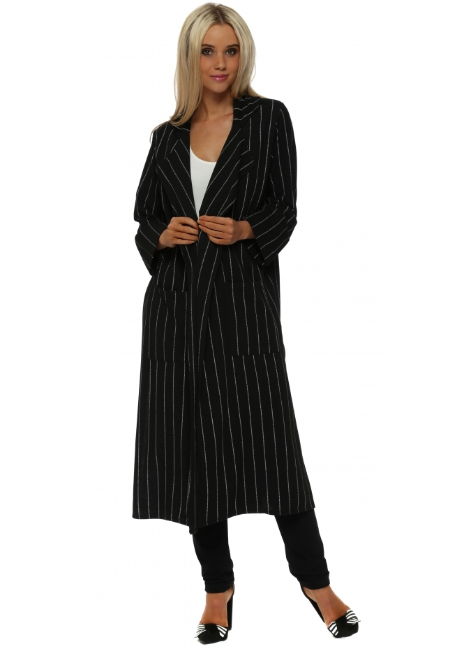 A Postcard From Brighton Cara Black Pinstripe Deconstruct Jacket