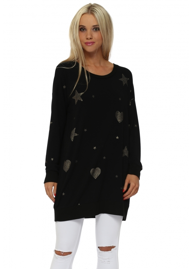 A Postcard From Brighton Gigi Black Gold Heart & Star Sweater