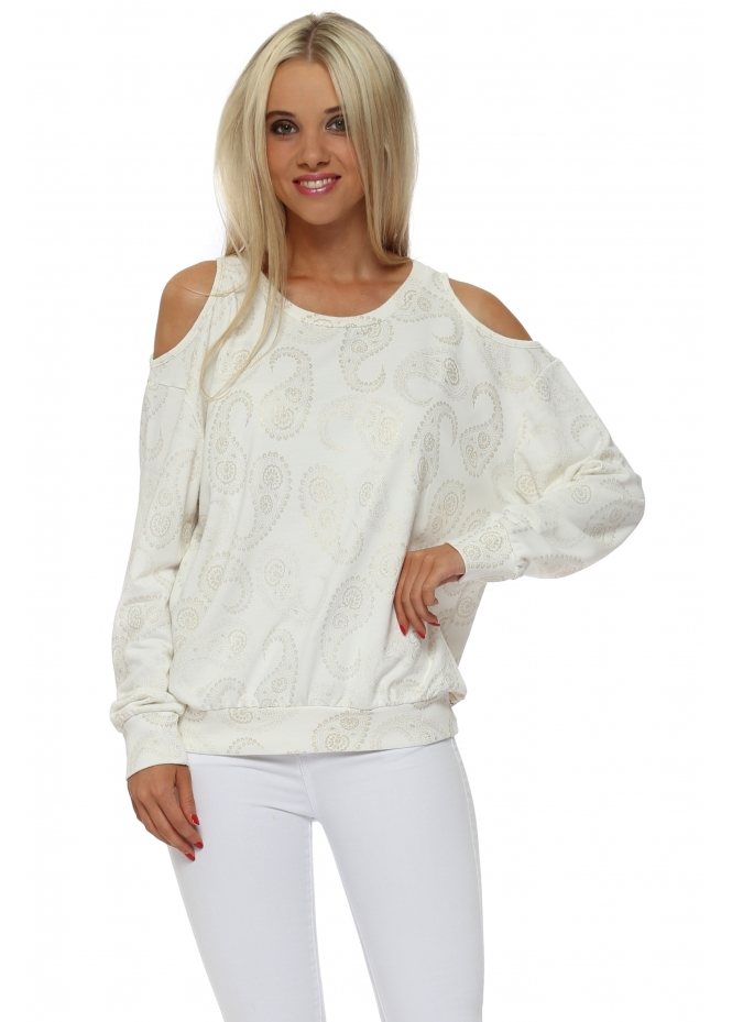 A Postcard From Brighton Perrie Vanilla Gold Paisley Cold Shoulder Sweater