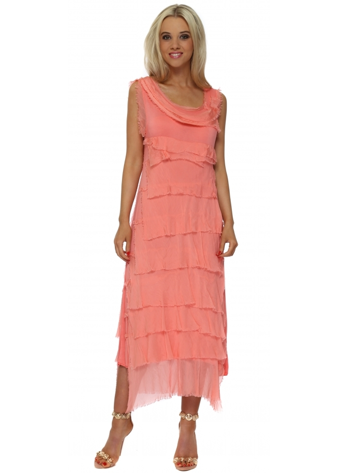 Monton Coral Frayed Silk Layered Maxi Dress