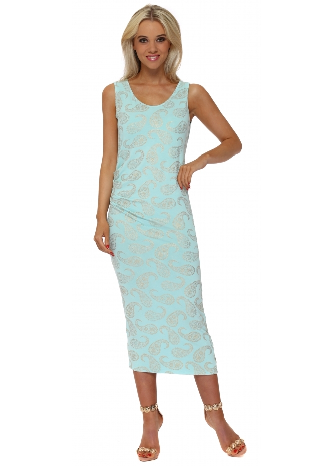 A Postcard From Brighton Paige Gold Paisley Print Pleated Midi Dress In Paradise Blue