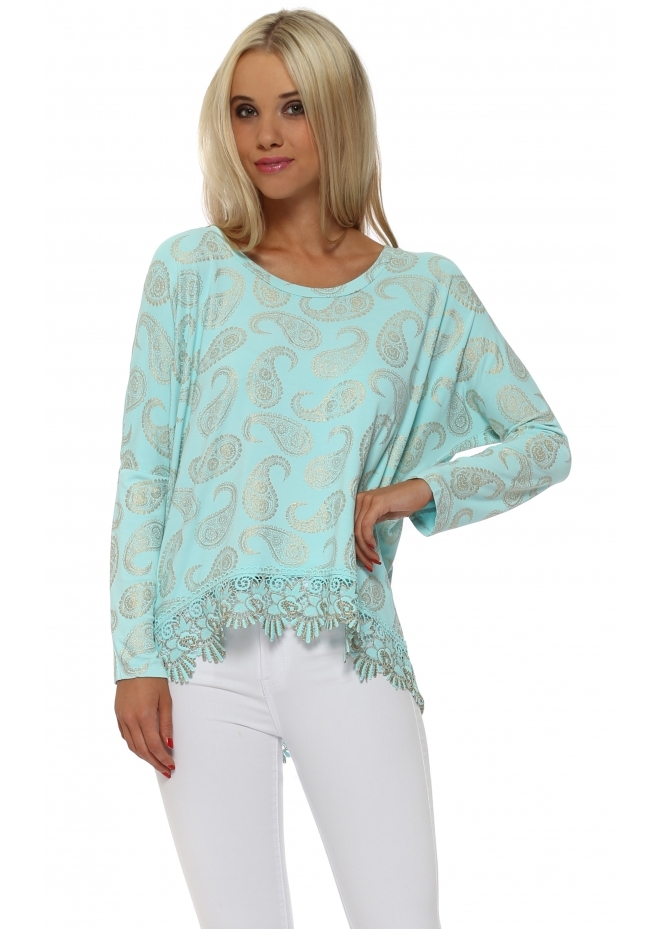 A Postcard From Brighton Paris Gold Paisley Lace Hem Top In Paradise Blue