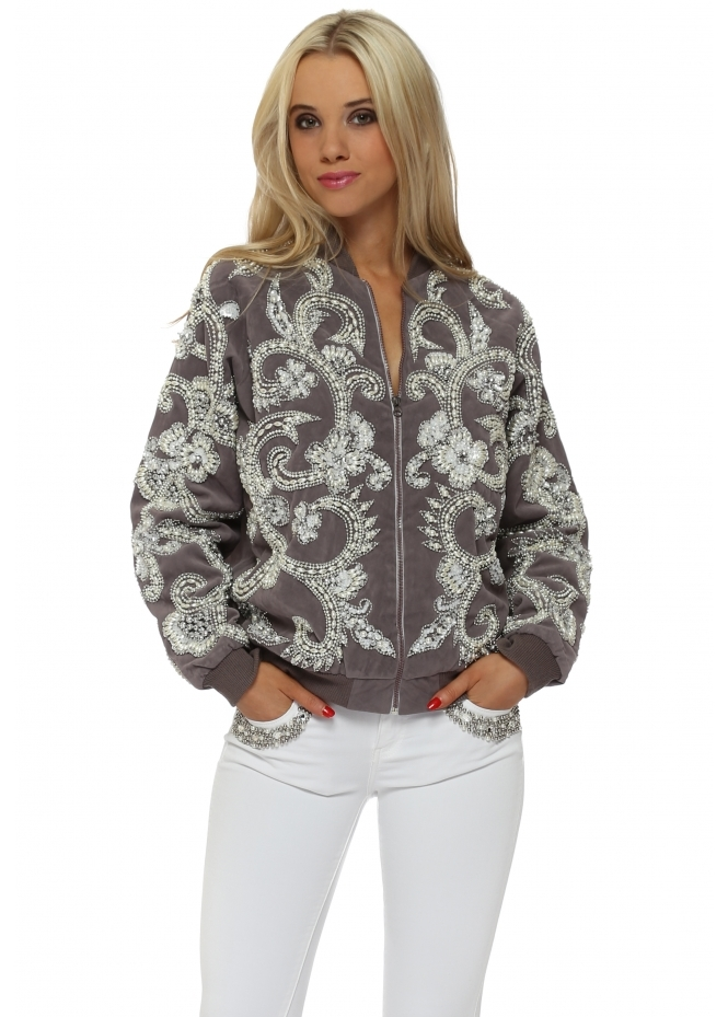 Starry Eyed EXCLUSIVE Pearl & Sequin Embellished Suede Bomber Jacket