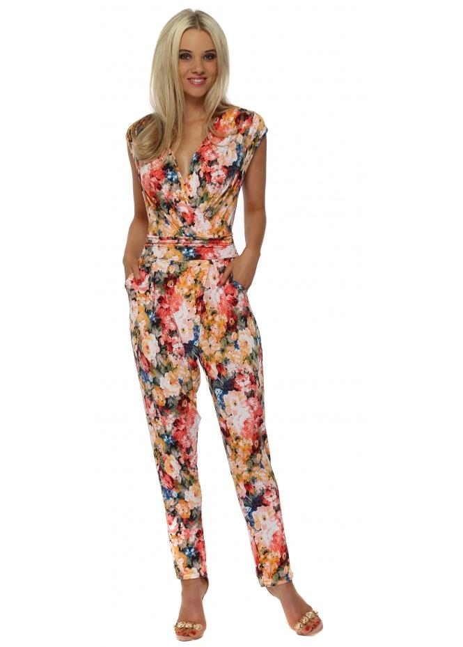 French Boutique Multi Floral Print Wrap Jumpsuit