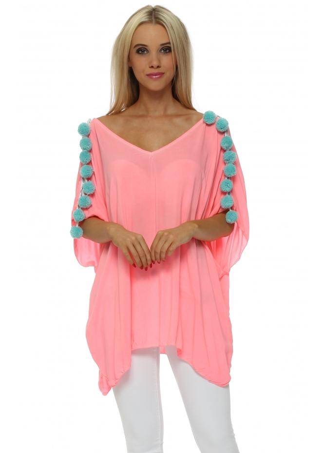 French Boutique Neon Pink Loose Fit Top With Mint Pom Poms