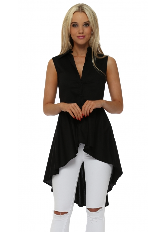 French Boutique Black Dip Hem Frill Sleeveless Shirt