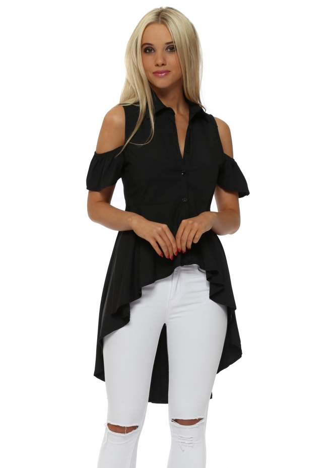 French Boutique Black Cold Shoulder High Low Shirt