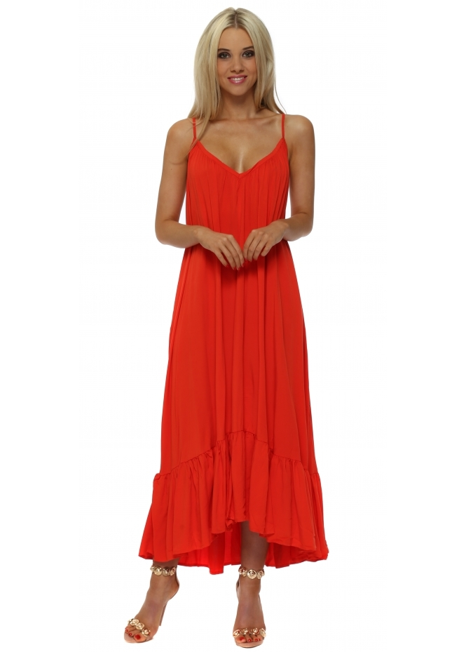 Senes Red Tie Open Back Boho Frill Maxi Dress