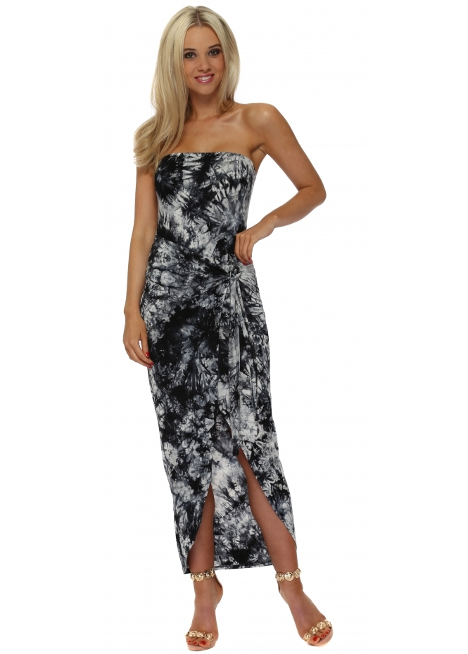 French Boutique Black Tie Dye Bandeau Wrap Dress