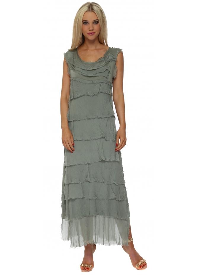 Monton Khaki Frayed Silk Layered Maxi Dress