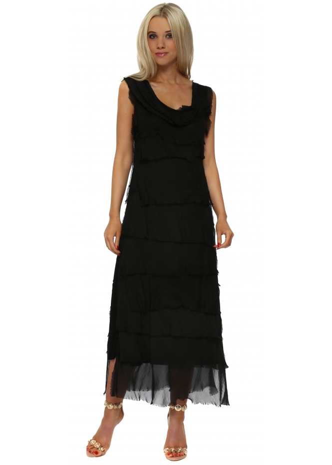 Monton Black Frayed Silk Layered Maxi Dress
