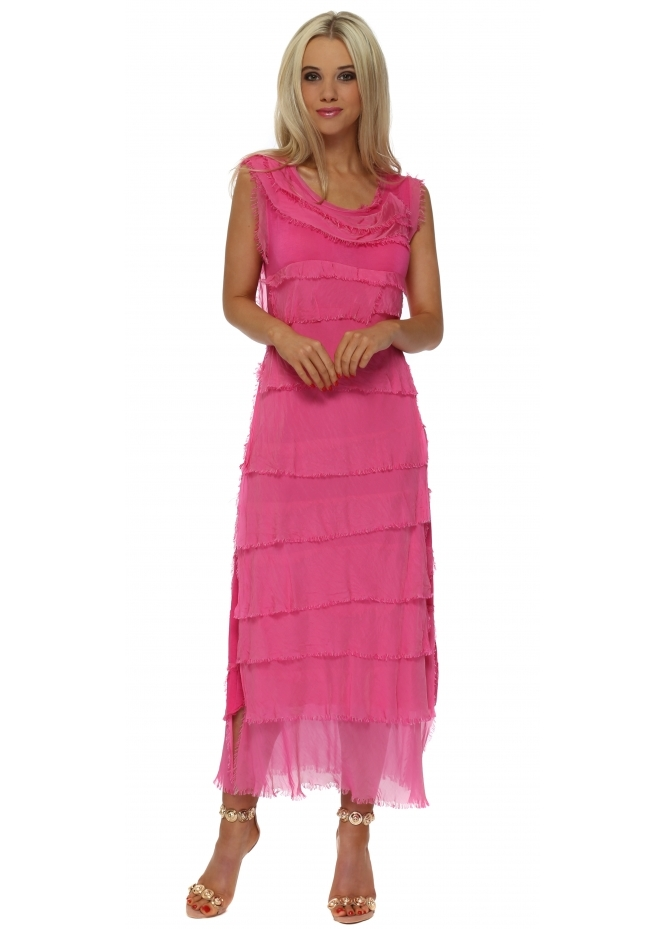 Monton Fucshia Frayed Silk Layered Maxi Dress