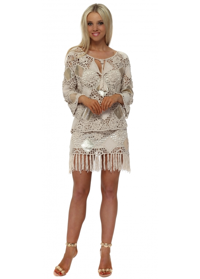 French Boutique Beige & Gold Crochet Skirt & Top Set