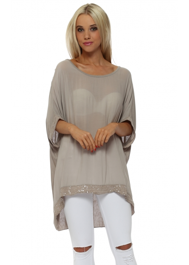 Made In Italy Mocha Sequinned Oversized Slouch Top