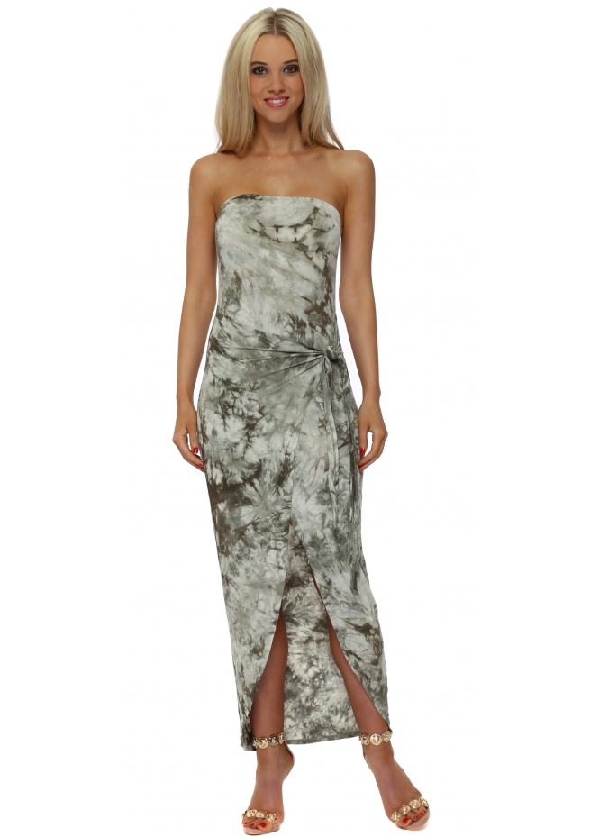French Boutique Khaki Tie Dye Bandeau Wrap Dress