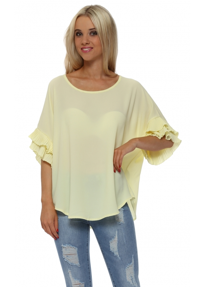French Boutique Yellow Pleated Sleeve Crepe Baggy Top