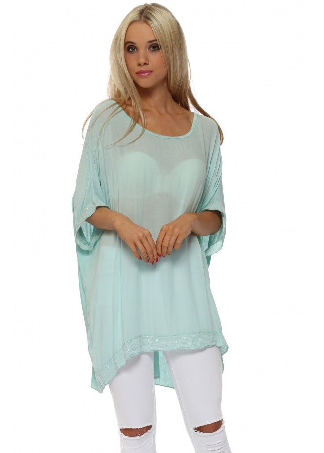 Made In Italy Mint Sequinned Oversized Slouch Top