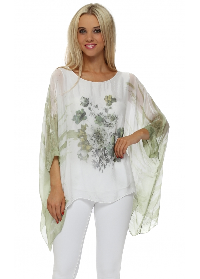 Made In Italy Mint Floral Sparkle Silk Batwing Top