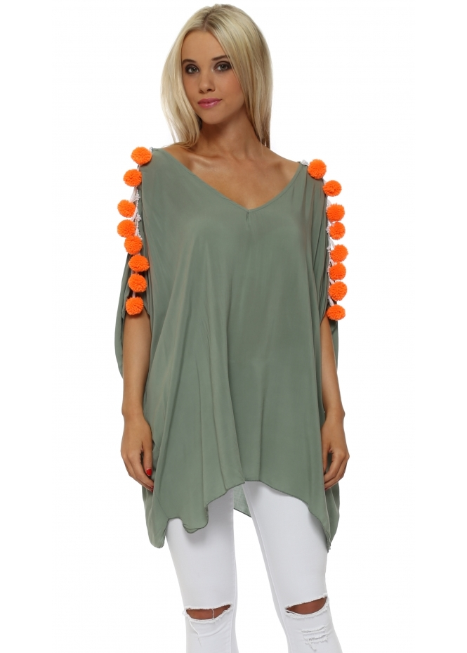 French Boutique Khaki Loose Fit Top With Orange Pom Poms