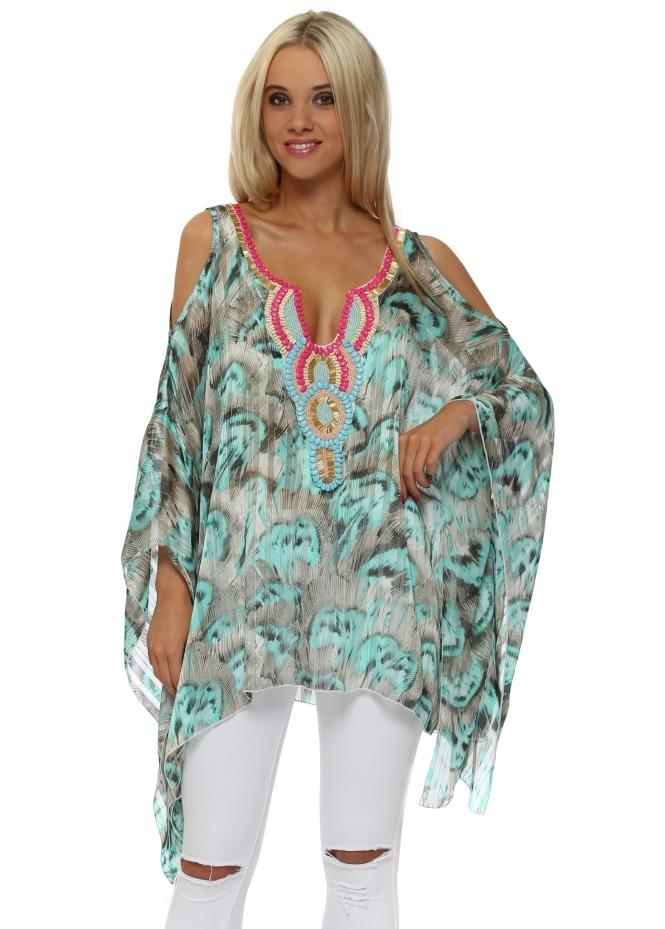Troiska Turquoise Feather Print Embellished Cold Shoulder Top