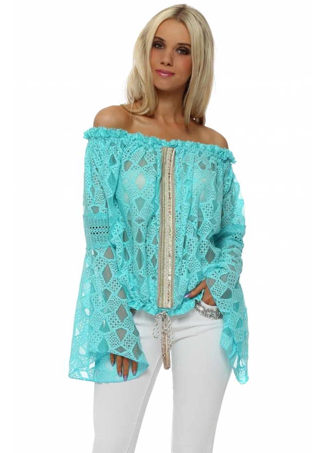 Laurie & Joe Turquoise Lace Embellished Bell Sleeve Top