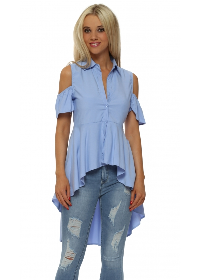 French Boutique Blue Cold Shoulder High Low Shirt
