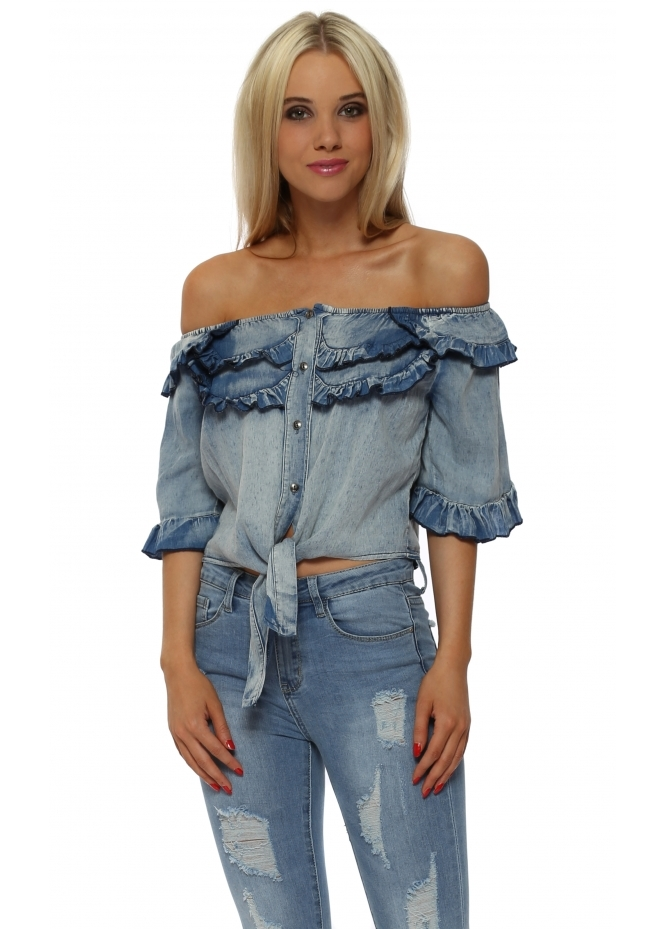 French Boutique Denim Blue Off The Shoulder Cropped Tie Top