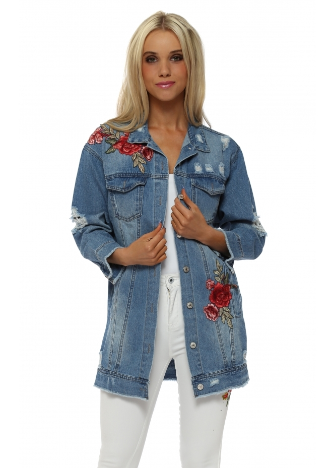 French Boutique Floral Applique Distressed Denim Jacket