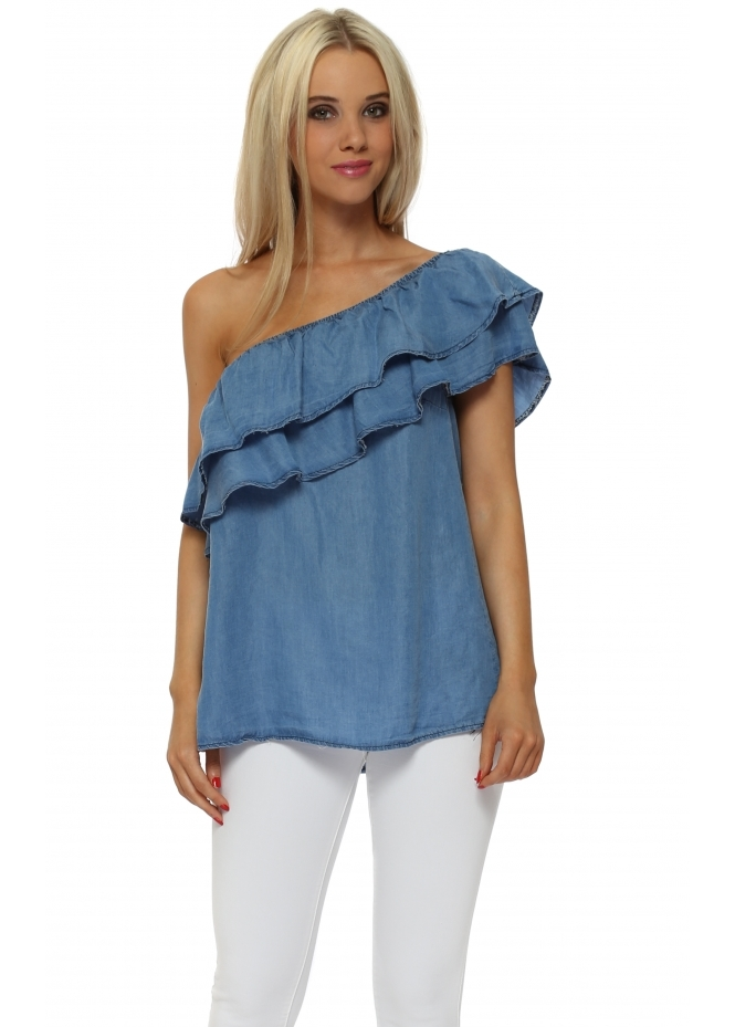 Made In Italy One Shoulder Frill Denim Blue Top